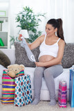 Pregnancy at home with shopping bags