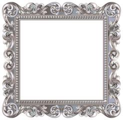 Cadre baroque carré argenté