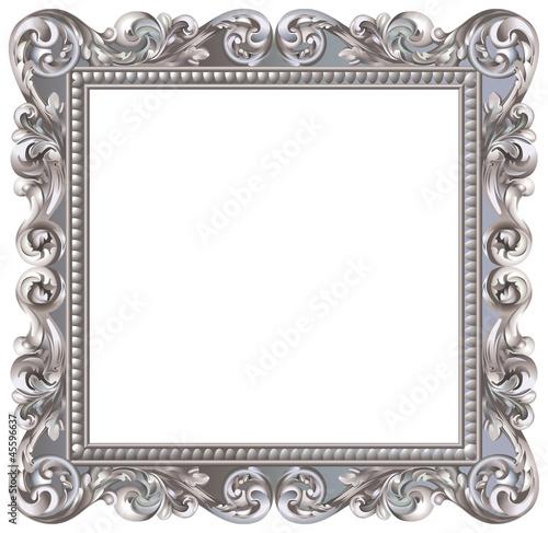 Cadre baroque carré argenté - 45596637