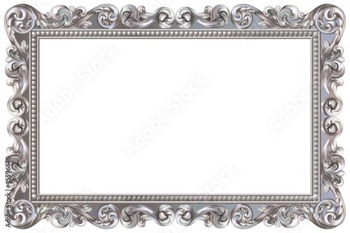 Cadre baroque rectangulaire argenté - 45596640
