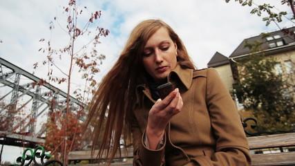 girl using the telephone