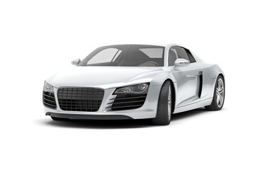 luxury sport car on white background 3d rendering