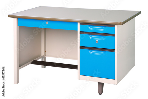 Stainless steel office or factory furniture isolates on white