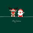 Sitting Rudolph & Santa Green Background