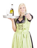 Young waitress with a tray poster
