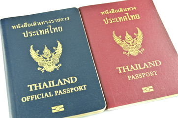 Thai passport and official passport isolated