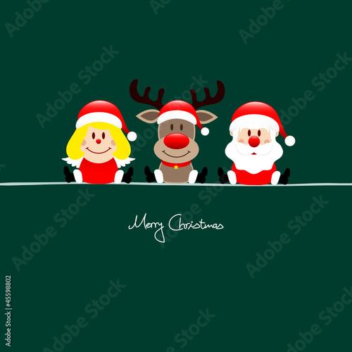 Sitting Angel, Rudolph & Santa Green Background