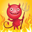 funny cute cartoon devil smiling
