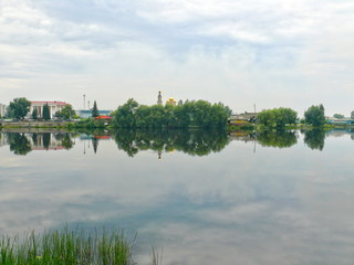 Pond in the center of Kystym town