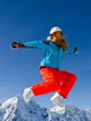 Winter fun - portrait of happy snowboarder girl