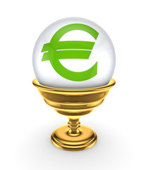 Euro sign on a white sphere.
