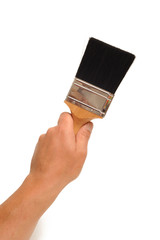 Paint brush and hand