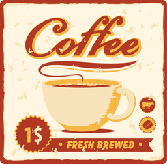 banner with coffee cup in retro style