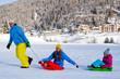 Winter, snow, sledding at winter time