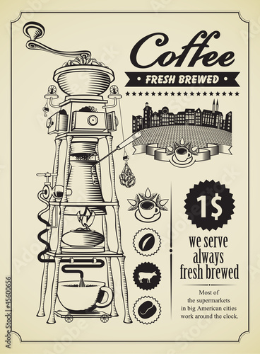 Retro banner with surreal coffee grinder