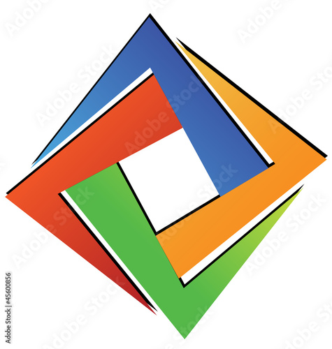 Diamond square geometric logo vector