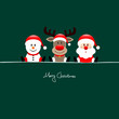 Sitting Snowman, Rudolph & Santa Green Background