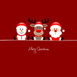 Sitting Snowman, Rudolph & Santa Red Background