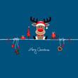Sitting Christmas Reindeer & Symbols Blue