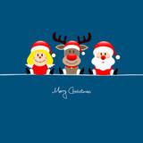 Sitting Angel, Rudolph & Santa Blue Background