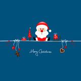 Fototapety Sitting Christmas Santa & Symbols Blue