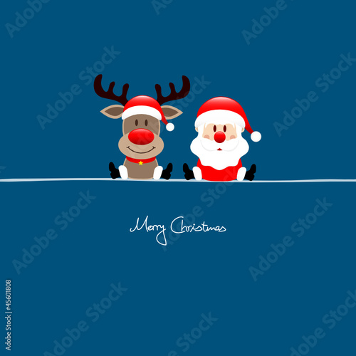 Sitting Rudolph & Santa Blue Background