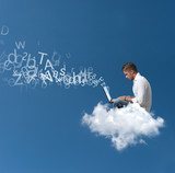 Businessman works over a cloud - Fine Art prints