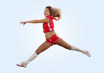 cheerleader girl jumping
