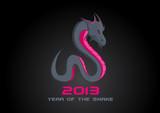 2013 Dark Snake. Happy New Year card template. Vector. Editable.