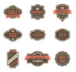 Vintage Labels set. Shield with ribbon and crown. Retro design