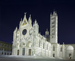 Siena Cathedral Duomo landmark, night photo. Tuscany, Italy