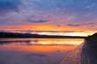Beautiful sunset over Yukon River near Dawson City