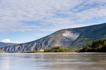 Goldrush town Dawson City from Yukon River Canada