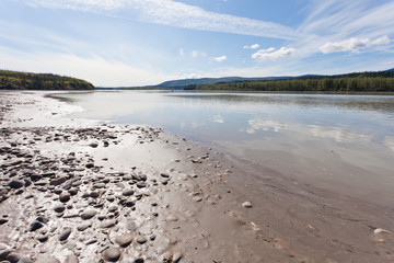 Gravel and mud at Yukon River near Dawson City