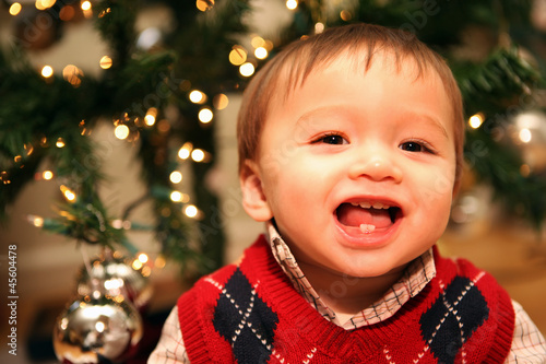 Cute Baby Boy at Christmas