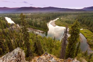 Yukon Canada taiga wilderness and McQuesten River