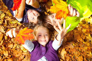 happy kids in autumn