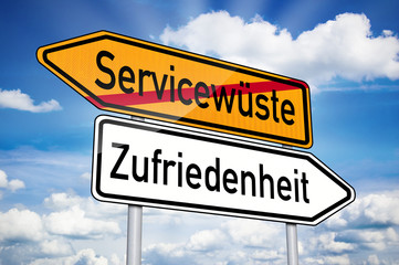 Wegweiser mit Servicewüste und Zufriedenheit