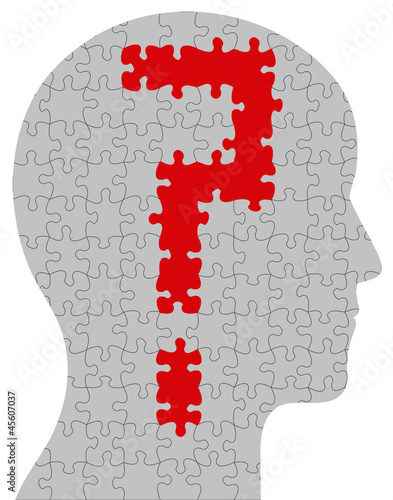 Profile of head containing a question mark in puzzle format