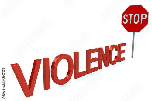Word Violence Before Stop Sign isolated on a white background