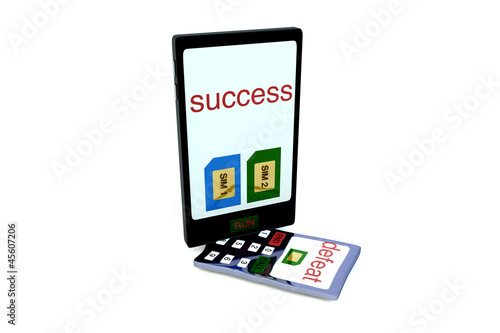 Smartphone with two sim cards and text SUCCess on screen stand o