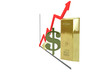 financial diagram consisting of euro, dollar sign and gold ignot
