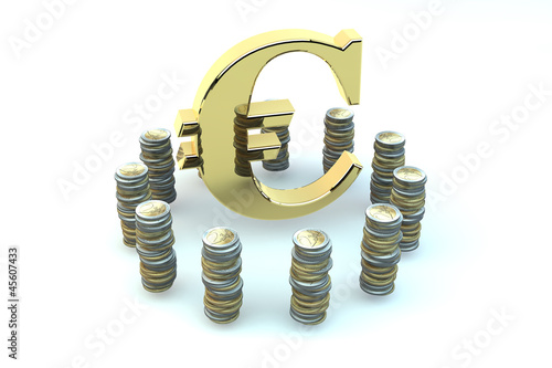 3d EURO gold sign in an environment of coins of euro on white ba