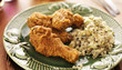 home cooked fried chicken meal cilantro lime quinoa side dish.,