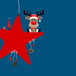 Sitting Rudolph On Red Star & Symbols Blue