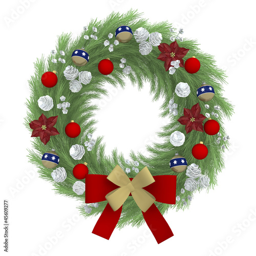 Beauty illustration christmas wreath, isolated on white