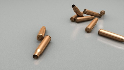3d animation, empty bullet cases dropping to floor.