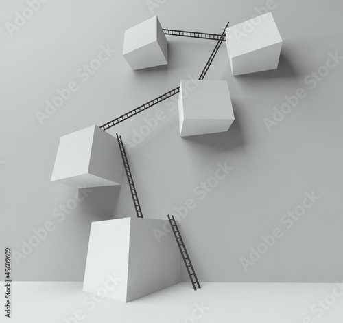 Group of white blocks with a lot of ladders on wall