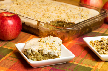 Apple Cake with red apple and walnuts