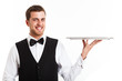 Waiter holding an empty dish